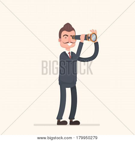 Businessman standing looking in a telescope. The success of the business concept and search capabilities. . Vector illustration in a flat style.