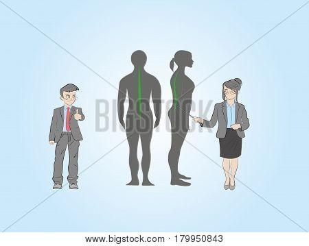 little men show the correct posture. Medical recommendations. vector illustration.