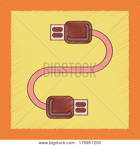 flat shading style icon of usb cable