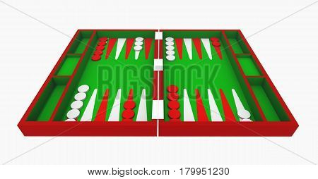 Computer generated 3D illustration with a backgammon set isolated on white background