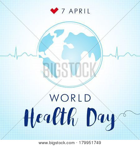 World Health Day pulce globe. Globe and normal cardiogram as a concept for World Health Day. Poster for 7 April, World Health Day