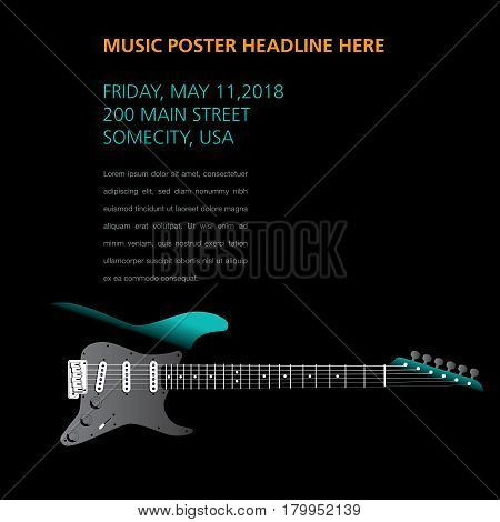A ghost guitar hides on this music page template for print or web
