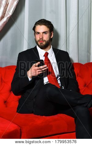Bearded Man, Businessman Speaking On Cell Phone With Red Tie