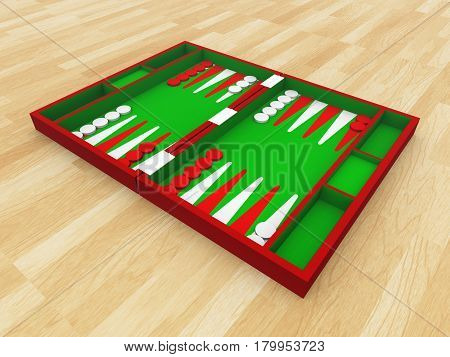 Computer generated 3D illustration with a backgammon set