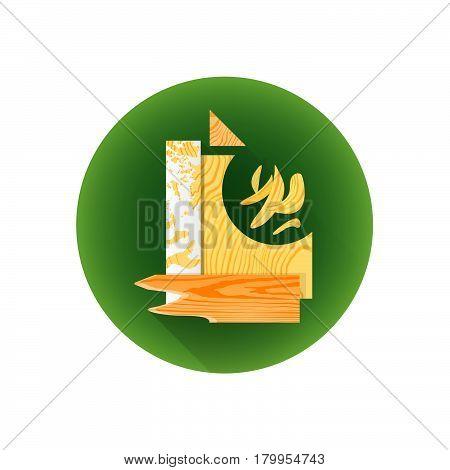 Vector Wood Scrap Waste Icon.
