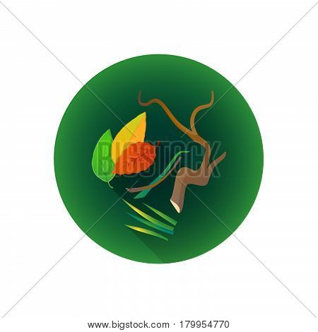Vector Green Cutting Waste Icon.