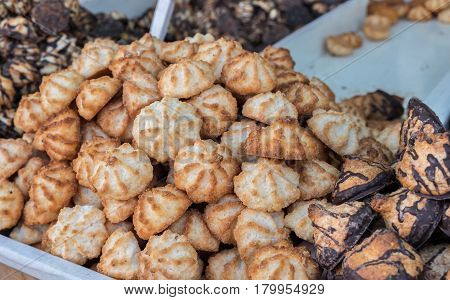 Kosher For Passover Coconut And Peanuts Cookie, For Sale At Mahane Yehuda Market, Popular Marketplac