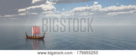 Computer generated 3D illustration with a Viking ship