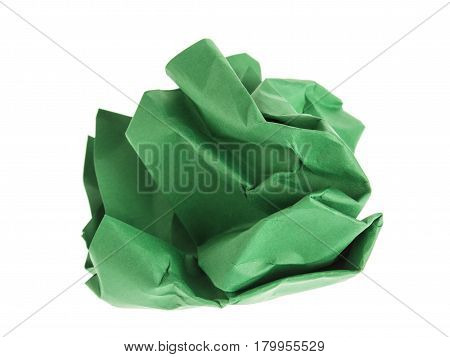 lump and crumpled green paper isolated on white background.