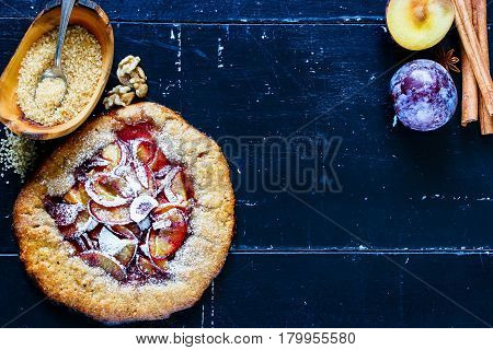 Wholegrain Plum Pie