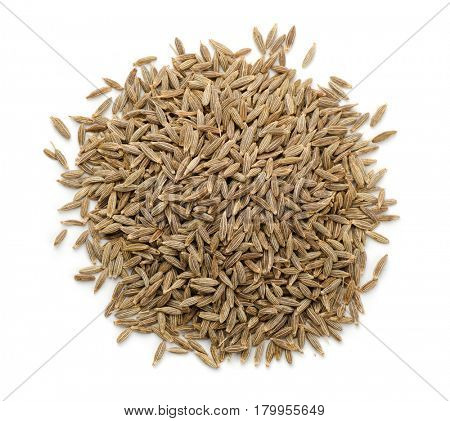 Top view of cumin seeds isolated on white