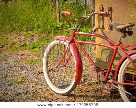 Retro Vintage Red Bicycle. Old Charming Bicycle Concept.