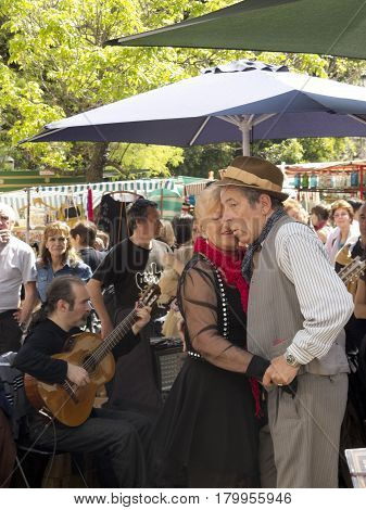 Tango Dancers Performs In San Telmo District, Buenos Aires, Argentina