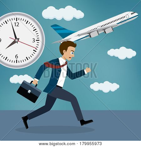 Businessman who missed his flight running behind a plane.