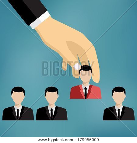Hand of businessman grab one person from group of businesspeople.