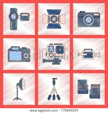 assembly flat shading style icon of multimedia technology camcorder photo camera professional lighting tripod micro SD