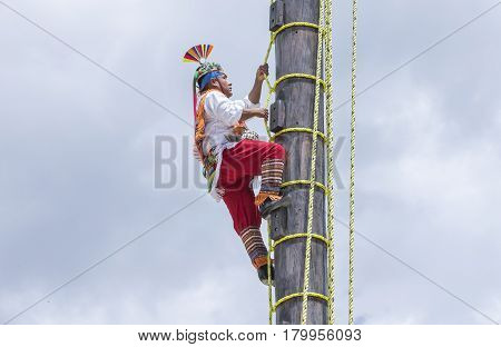 Tulum Mexico March 15th 2017: ritual ceremony of the Voladores (Flying Men)