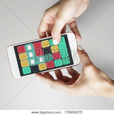 Mobile Phone Device Matching Line Game Icons