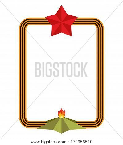 May 9 Frame. St. George Ribbon And Red Star. Eternal Flame Russian Symbol Is Day Of Victory