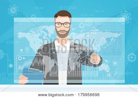 Bearded man trader touching the computer screen while browsing diagrams and the world map vector illustration