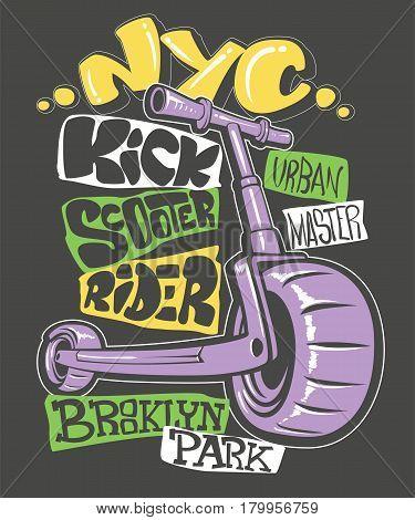 Kick scooter print design, vector illustration EPS