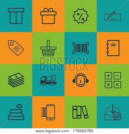 Set Of 16 E-Commerce Icons. Includes Rebate Sign, Withdraw Money, Identification Code And Other Symbols. Beautiful Design Elements.