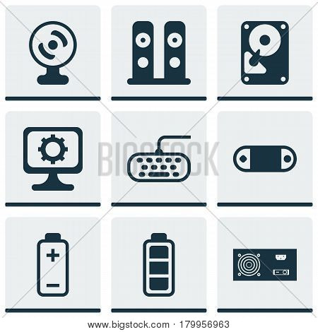 Set Of 9 Computer Hardware Icons. Includes Hdd, Loudspeakers, Computer Keypad And Other Symbols. Beautiful Design Elements.