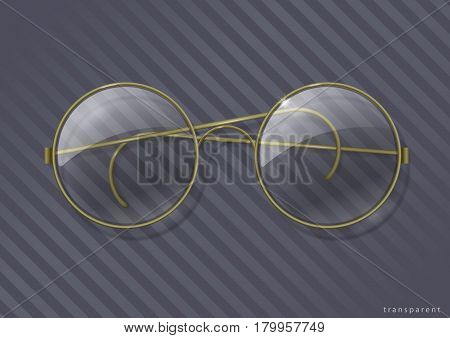 Vintage round glasses with clear glass in brass rim. Vector graphics with transparency effect