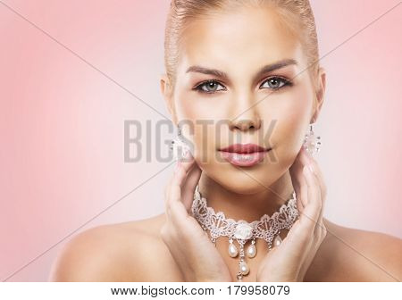 Fashion Blond Woman Wearing Dramatic Makeup