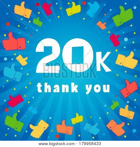 20k thank you banner. 20000 followers vector illustration with thank you on pattern of colored likes