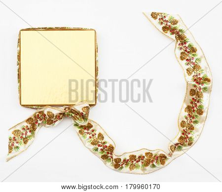 Gold Box with Pine Cone Ribbon