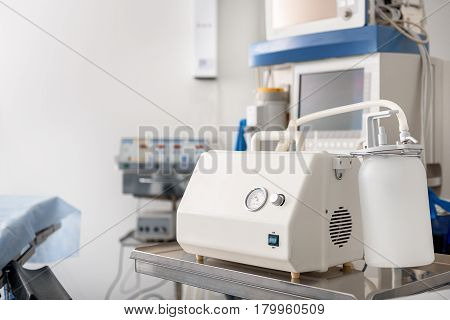 Focus on close up medical equipment preparing for using it in surgery room