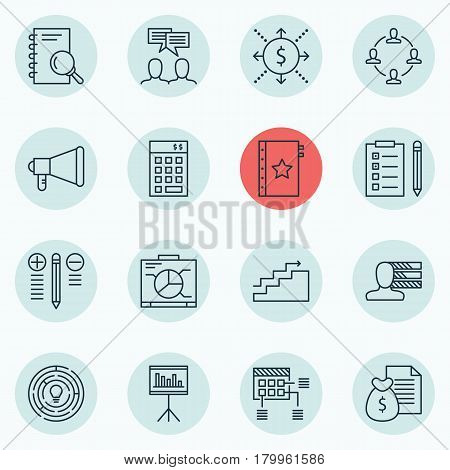 Set Of 16 Project Management Icons. Includes Investment, Innovation, Personal Skills And Other Symbols. Beautiful Design Elements.