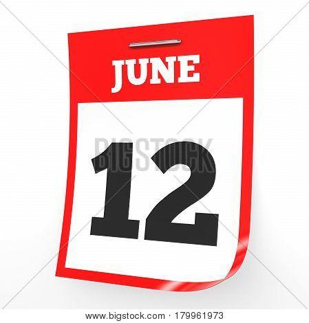 June 12. Calendar On White Background.