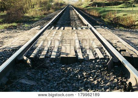 Rails. Sleepers. Receding into the distance railway.