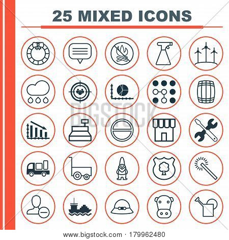 Set Of 25 Universal Editable Icons. Can Be Used For Web, Mobile And App Design. Includes Elements Such As Bailer, Computing Problems, Screwdriver With Wrench And More.