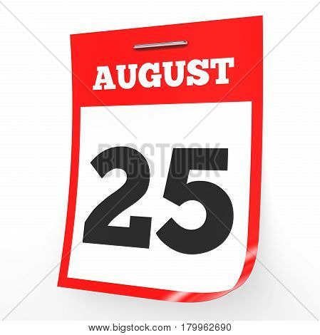 August 25. Calendar On White Background.