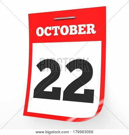 October 22. Calendar On White Background.