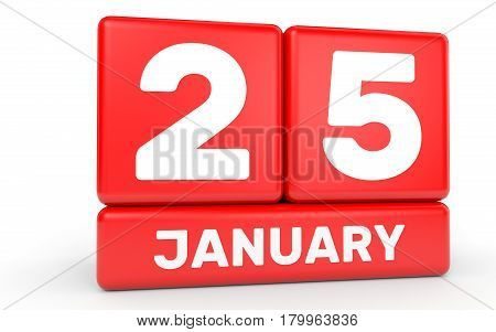 January 25. Calendar On White Background.