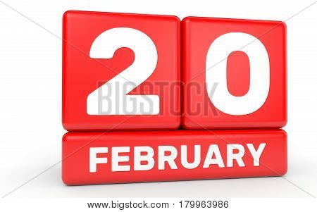 February 20. Calendar On White Background.