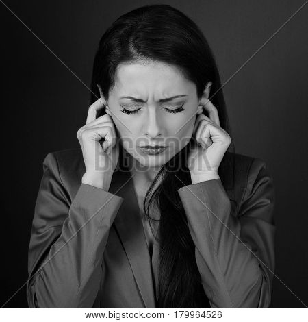 Stressed Sad Business Woman In Grey Suit Closed Her Ears The Fingers Because Not Want The Hear Any S