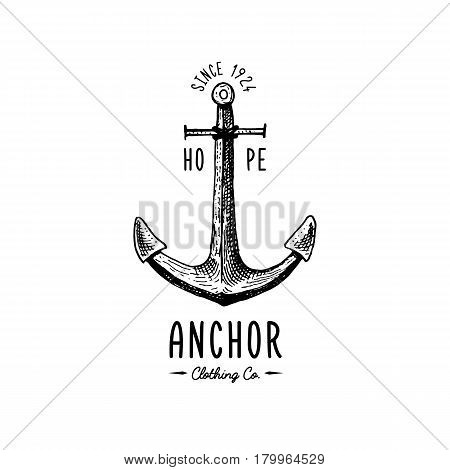 Anchor engraved vintage in old hand drawn or tattoo style, drawing for marine, aquatic or nautical theme, wood cut, blue logo.