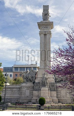 Monument to the Constitution of 1812 tourist visiting the monument in spring Cadiz Andalusia Spain