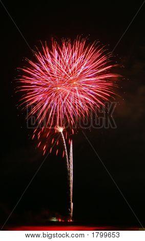 Fireworks Over The Ocean