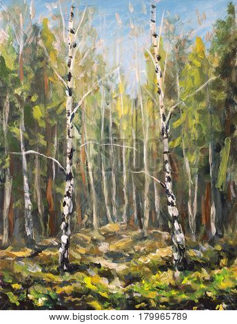 Original oil painting on canvas. Beautiful green spring landscape. Modern impressionism art. Plein air birch trees in forest painting - Modern impressionism.