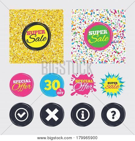 Gold glitter and confetti backgrounds. Covers, posters and flyers design. Information icons. Delete and question FAQ mark signs. Approved check mark symbol. Sale banners. Special offer splash. Vector