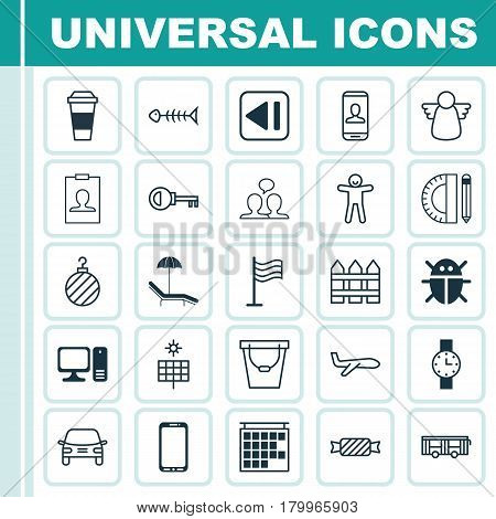 Set Of 25 Universal Editable Icons. Can Be Used For Web, Mobile And App Design. Includes Elements Such As Sun Power, Relax Chair, Pin And More.