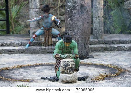 Tulum Mexico March 15th 2017: Men in Maya indian costume in Tulum Mexico