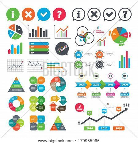 Business charts. Growth graph. Information icons. Delete and question FAQ mark signs. Approved check mark symbol. Market report presentation. Vector