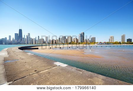 Chicago Waterfront Skyline On A Beautiful Day, Usa